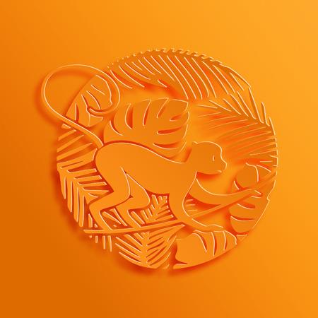 New Year: 2016 Chiński Nowy Rok Symbol. Dekoracyjne małpa w dżungli. Paper Cutting orientalnej tradycji stylu ilustracji.