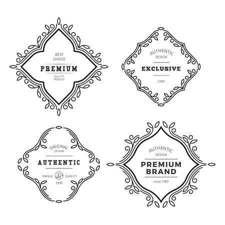 Vector Monogram Decorative Frame. Vintage Linear Flourishes Elegant Ornaments. Classic Template Elements for Labels, Emblems, Logos and Package Design.