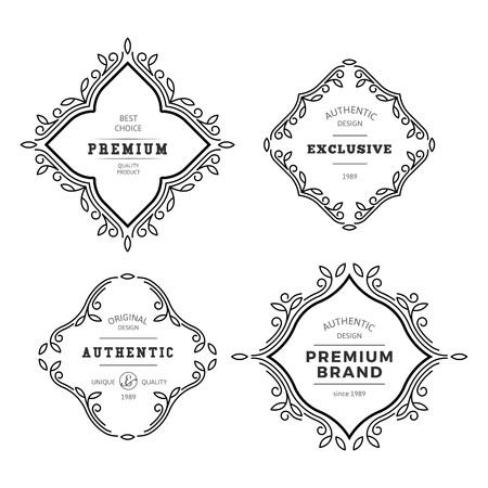 vid: Vector del marco del monograma decorativo. Vintage lineal Florece Adornos elegantes. Elementos plantilla clásica de etiquetas, emblemas, logotipos y diseño de embalaje.