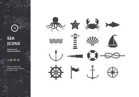 sea food: Vector Set of Nautical Icons. Sea Symbols Silhouettes. Hipster Style Design for Labels, Logos, Badges and Packaging.