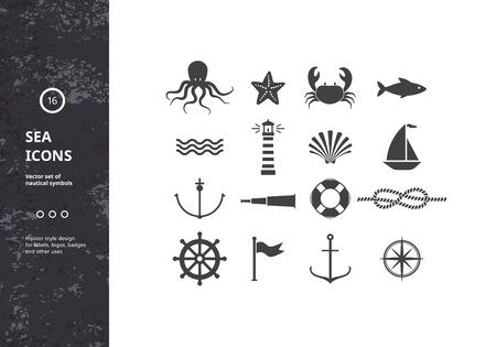Vektorgrafik Satz von Nautical Icons. Sea Symbole Silhouetten. Hipster Style Design für die Etiketten, Logos, Embleme und Verpackung.