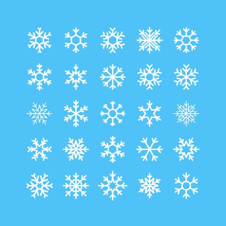 seasonal symbol: Snowflakes Vector Icons Set. Winter Seasonal Symbol Concept. Fridge Logo Element Graphic.