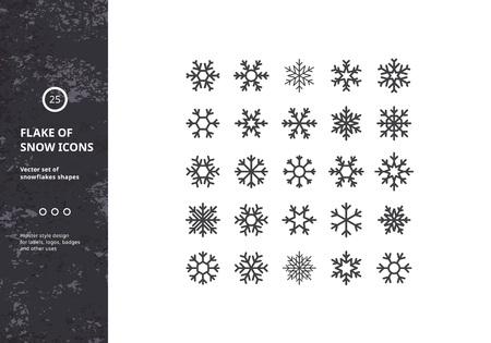 copo de nieve: Conjunto de vectores de los copos de nieve Formas. Hipster estilo de diseño para etiquetas, escudos y los iconos. Invierno congelado símbolo geométrico.