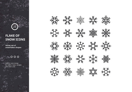 snow: Set of Vector Snowflakes Shapes. Hipster Style Design for Labels, Badges and Icons. Winter Frozen Geometric Symbol.