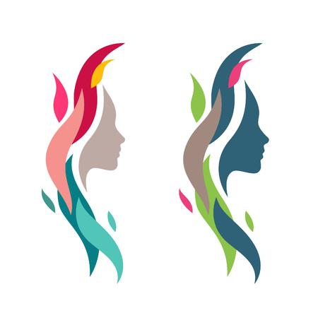 mulher: Face da mulher colorida com Waves. Silhueta principal fêmea abstrato para logotipos e ícones Elements. Natureza Cosmetics Concept Symbol. Ilustração