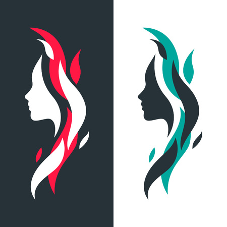 colourful fire: Set of Female Profiles with Abstract Colorful Waves.Vector Logo Template. Isolated Icons Face Silhouettes Concept.