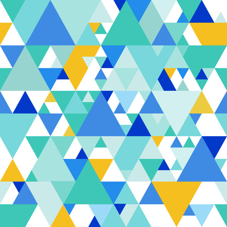 Vector Seamless Pattern with Colorful Triangles. Random Vector Textured Background. Endless Geometric Print Design.  イラスト・ベクター素材