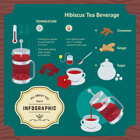 or instruction: Brewing Hibiscus Beverage Infographic with French Press, Sugar, Ginger and Cinnamon. Vector Flat Icons and Elements or Instruction on Tea Package.