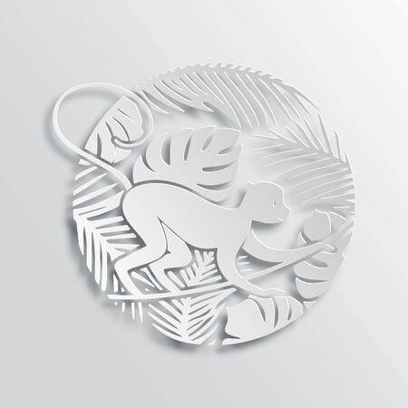 segno: Vettore Simbolo del 2016 Capodanno - Scimmia. Segno zodiaco cinese. Paper Cutting orientale Tradizione Stile Illustrazione.