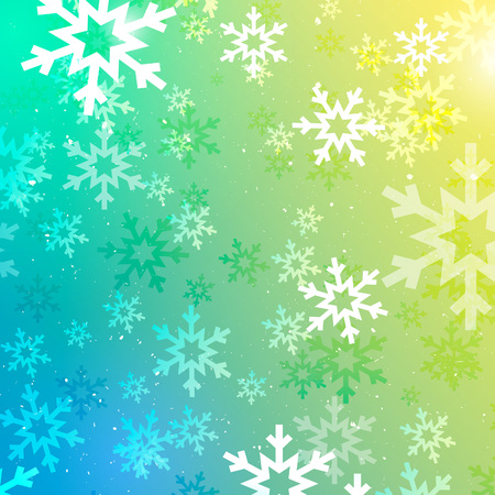 polar lights: Abstract Christmas Holiday Background with Falling Snowflakes. Vector Colorful Winter Texture.