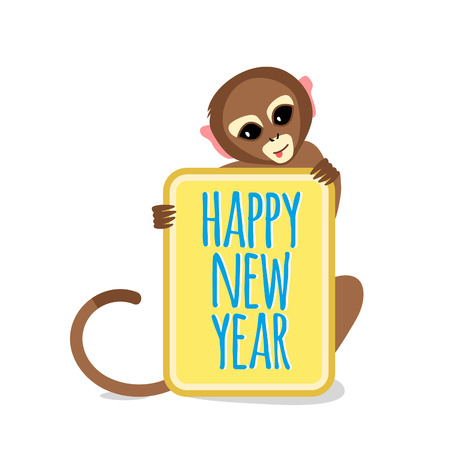 monkey face: Cute Little Monkey with Happy New Year Card. 2016 Chinese New Year Symbol. Flat Vector Illustration.