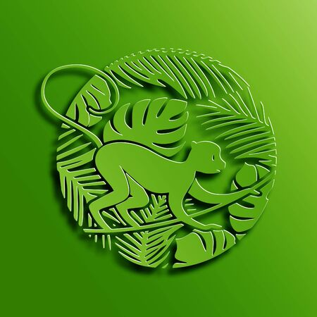 marmoset: Green Circle Illustration of Symbol of 2016 New Year - Monkey in Jungle. Chinese Zodiac Vector Sign. Paper Cutting Oriental Tradition Style Illustration.