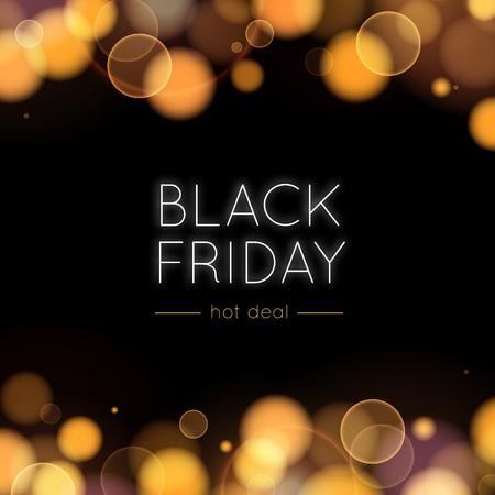 ブラックフラ イデー販売ベクトルの背景。ゴールドのボケ味と暗闇の中でライト。バナー、ポスター、広告、ほめ言葉の抽象的なイラスト。 写真素材 - 47690519
