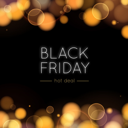 Black Friday Sale Vector Background. Gold Bokeh and Lights in the Dark. Abstract Illustration for Banners, Posters, Advertising and Blurbs. Vettoriali
