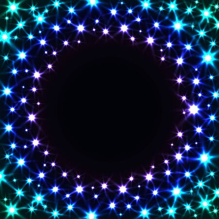 glam: Shiny Colorful Frame with Stars. Vector Glitter Background.