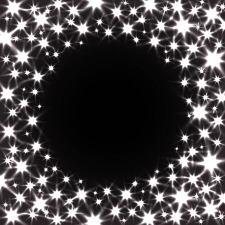 radiant light: Circle Vector Background with Shiny Stars on Night Sky. Festive Glitter Texture.