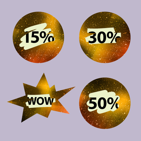 lottery win: Vector Scratched Lottery Isolated Labels. Gold Textured Shapes with Special Prices. Advertising Sale Concept. Illustration