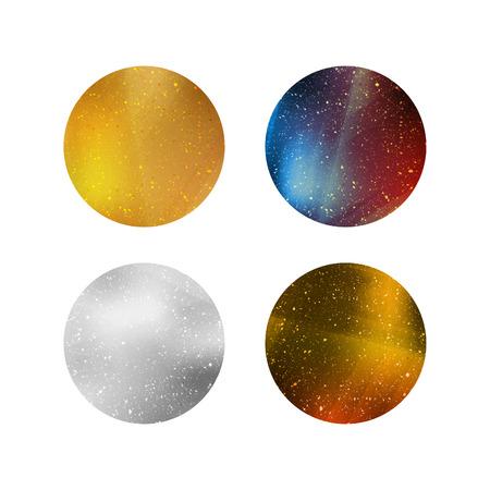 色鮮やかな光沢のある分離円。ラベル、ロゴ、タグ、バッジの銀、金、カラフルなメタリック背景。