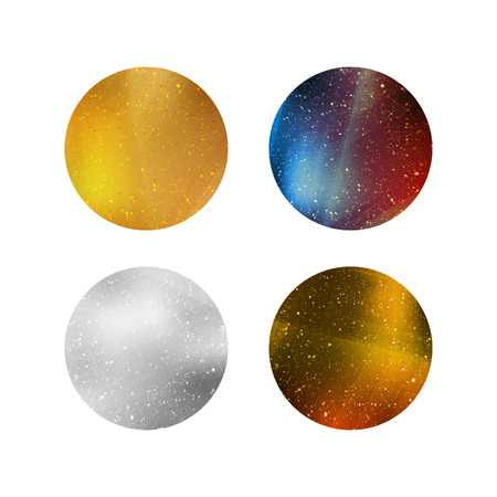 Colorful Shiny Isolated Circles. Silver, Gold and Colorful Metallic Backgrounds for Labels, Logos, Tags and Badges. Ilustração