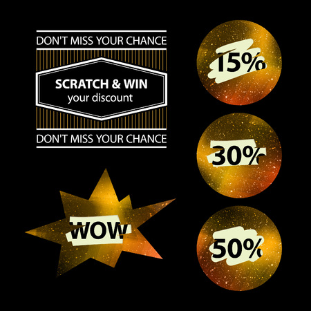 scratch card: Vector Advertising Sale Concept with Scratched Gold Circles and Special Prices. Shiny Lottery Tags with Percents. Illustration