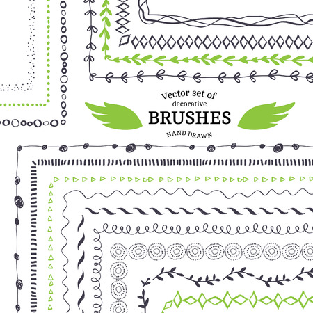 handmade: Vector Decorative Scribble Paintbrushes with Inner and Outer Corners. Hand Drawn Ink Brushes. Seamless Whimsical Borders for Patterned Frames.