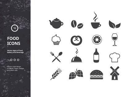 logo de comida: Conjunto de muestras del vector de la Alimentación, Panadería y Bebidas. Hipster elementos de diseño de estilo para logotipos, etiquetas, escudos y los iconos.