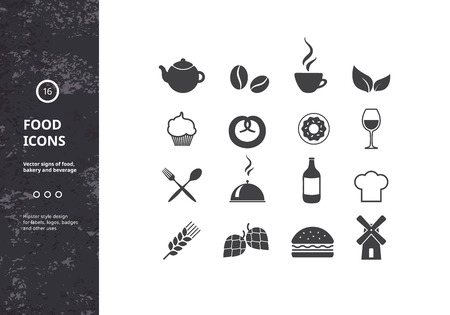 Set of Vector Signs of Food, Bakery and Beverage. Hipster Style Design Elements  for Logos, Labels, Badges and Icons.