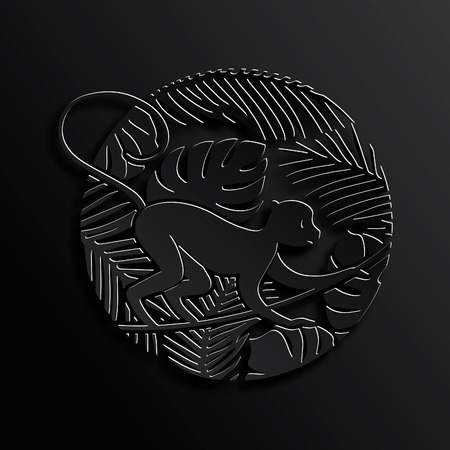 paper cutting: Decorative Monkey in Jungle in Black Color.2016 Chinese New Year Symbol. Paper Cutting Oriental Tradition Style Illustration.