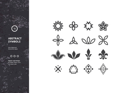 abstract logos: Set of Abstract Symbols and Graphic Elements. Vector Floral Icons. Hipster Designs for Labels, Badges and Logos.