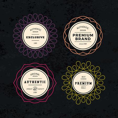 Set of Elegant Labels with Frames. Authentic Retro Vector Tags Design. Minimalistic Vine Bottle Badges.