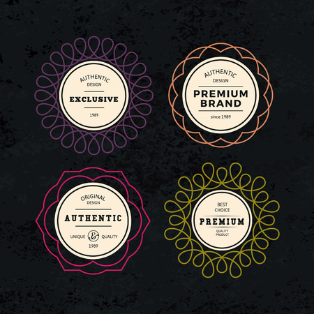 circles: Set of Elegant Labels with Frames. Authentic Retro Vector Tags Design. Minimalistic Vine Bottle Badges.