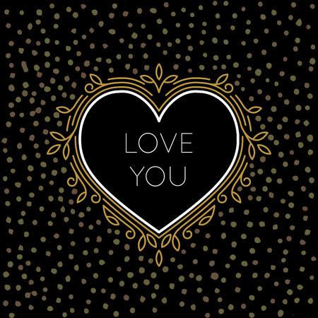 te quiero mucho: De oro del vector del esquema del coraz�n Etiqueta con el marco floral lineal aislado en el fondo Negro con los puntos del oro.