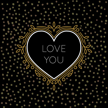 i label: Golden Outline Vector Heart Label with Linear Floral Frame Isolated on Black Background with Gold Dots. Illustration