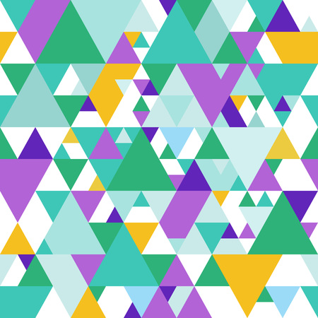 bg: Geometric Seamless Pattern with Green, Purple and Yellow Triangles.  Illustration