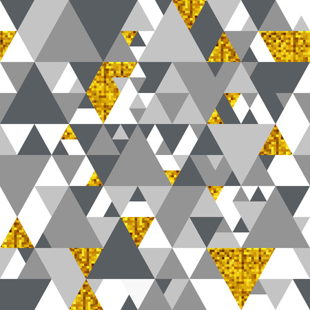 Vector Seamless Pattern with Gold Triangles. Gold and Gray Geometric Textured Background 矢量图像