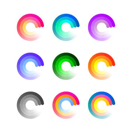 Conjunto de coloridos iconos redondo aislado en el fondo blanco. Cargando la insignia del vector Concepto. Símbolos del asunto con degradado.