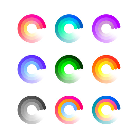 business symbols: Set of Colorful Round Icons Isolated on White Background. Vector Loading Logo Concept. Business Symbols with Gradient. Illustration