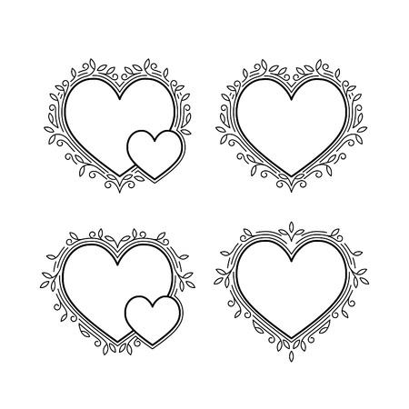 bordes decorativos: Conjunto de marcos decorativos de formas de corazón. Día de San Valentín Fronteras decorativas. Amor fondo de concepto.
