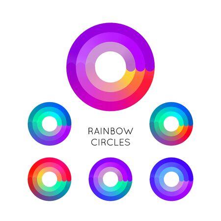 Set of Bright Colorful Circle Symbols Isolated on White Background. Vetores