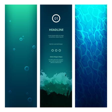 Subacquea Punto di vista blu con le onde, bolle, luce solare e increspature.