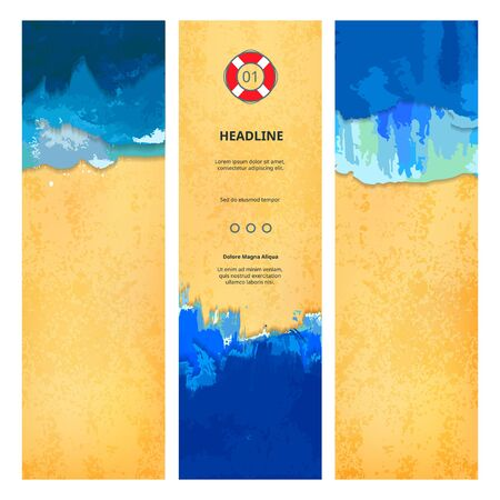 sand: Set of Summer Beach Banners with Ocean and Sea Waves and Sand.