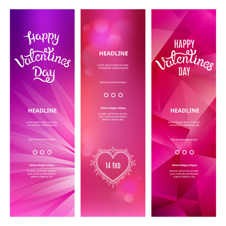 bg: Set of Beautiful Vertical Pink Banners on St. Valentines Day.  Illustration