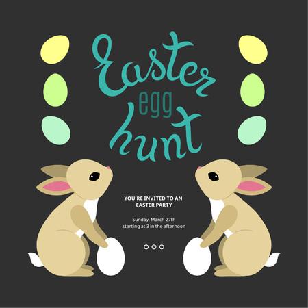 huevo caricatura: Cartel de Pascua Plantilla de la caza del huevo. Ideas de la fiesta de Pascua. Los huevos de colores de dibujos animados y conejitos.