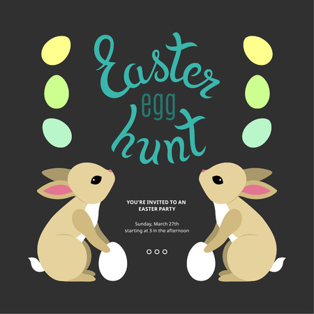 easter egg hunt: Easter Egg Hunt  Template Poster. Easter Party Ideas. Colorful Cartoon Eggs and Cute Bunnies.