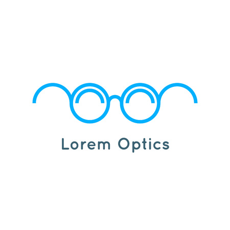 earpiece: Blue Linear Eyeglass Concept. Minimalistic Icon. Outline Optical Symbol.
