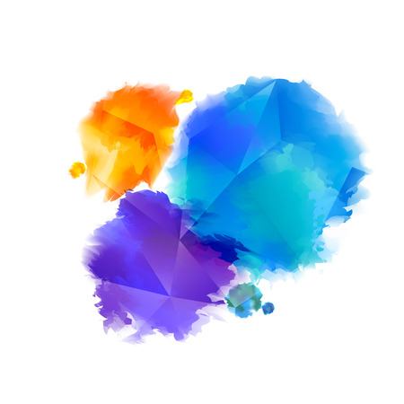 Awesome Colorful Watercolor Splashes. Abstract Holi Festival Texture. Paint Splashes Isolated on White Background. Graphic Design Element.