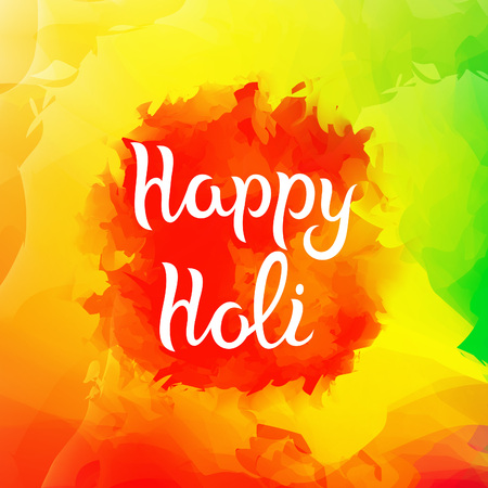 Colorful Background with Paint Splashes. Happy Holi with  Text. India Traditional Festival Decoration.