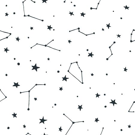 costellazioni: Seamless Pattern with Stars and Constellations Points. Abstract Space Texture. Black Illustration on White Background