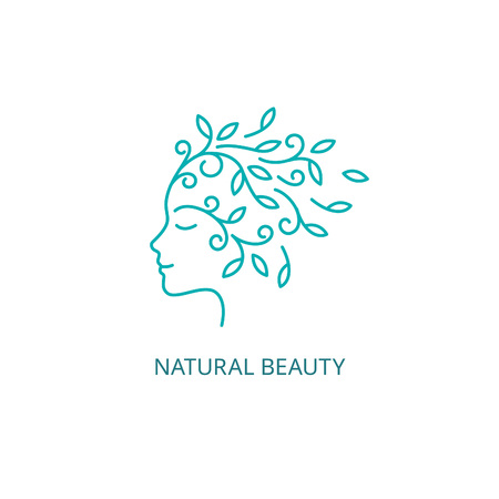 natural face: Female Face in Linear Style. Woman Profile  with Floral Hair Icon. Natural Beauty Concept.
