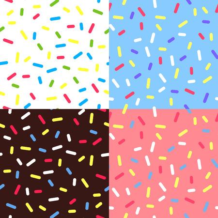 helado caricatura: Conjunto de fondos de colores del esmalte. Patrón sin fisuras con asperja. Ejemplos de donuts glaseado. Textura Dulces. Random confeti Bg.